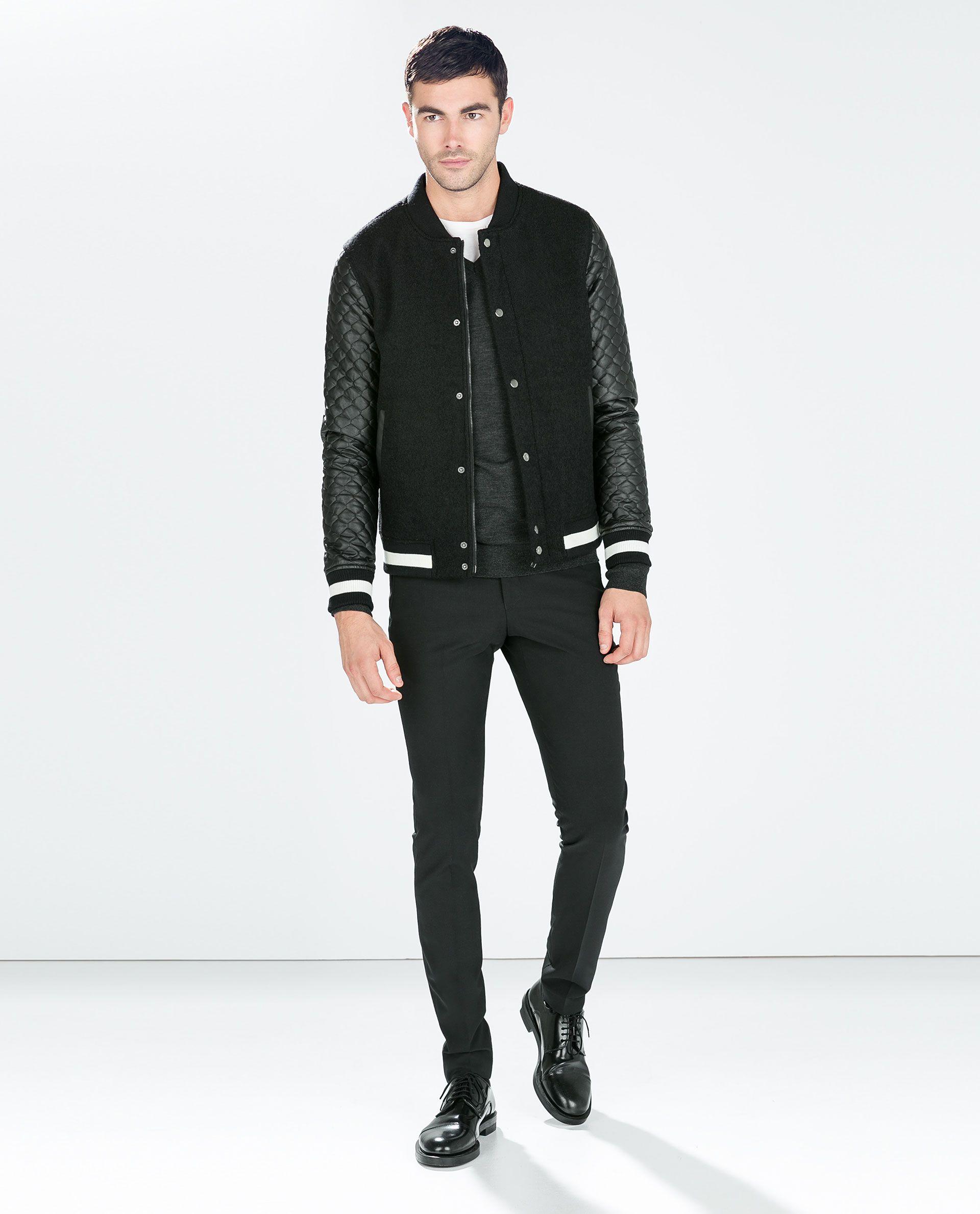 Zara Faux Leather Sleeve Jacket Leather sleeve jacket