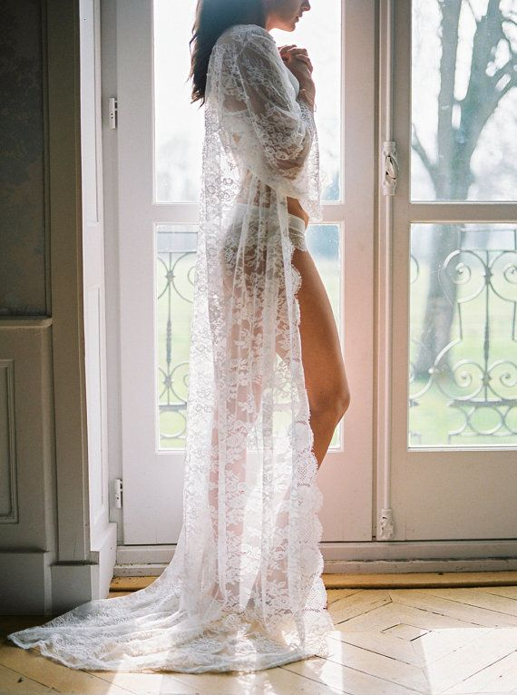 Maria -Long lace robe - Chantilly lace robe - bridal lace robe ...