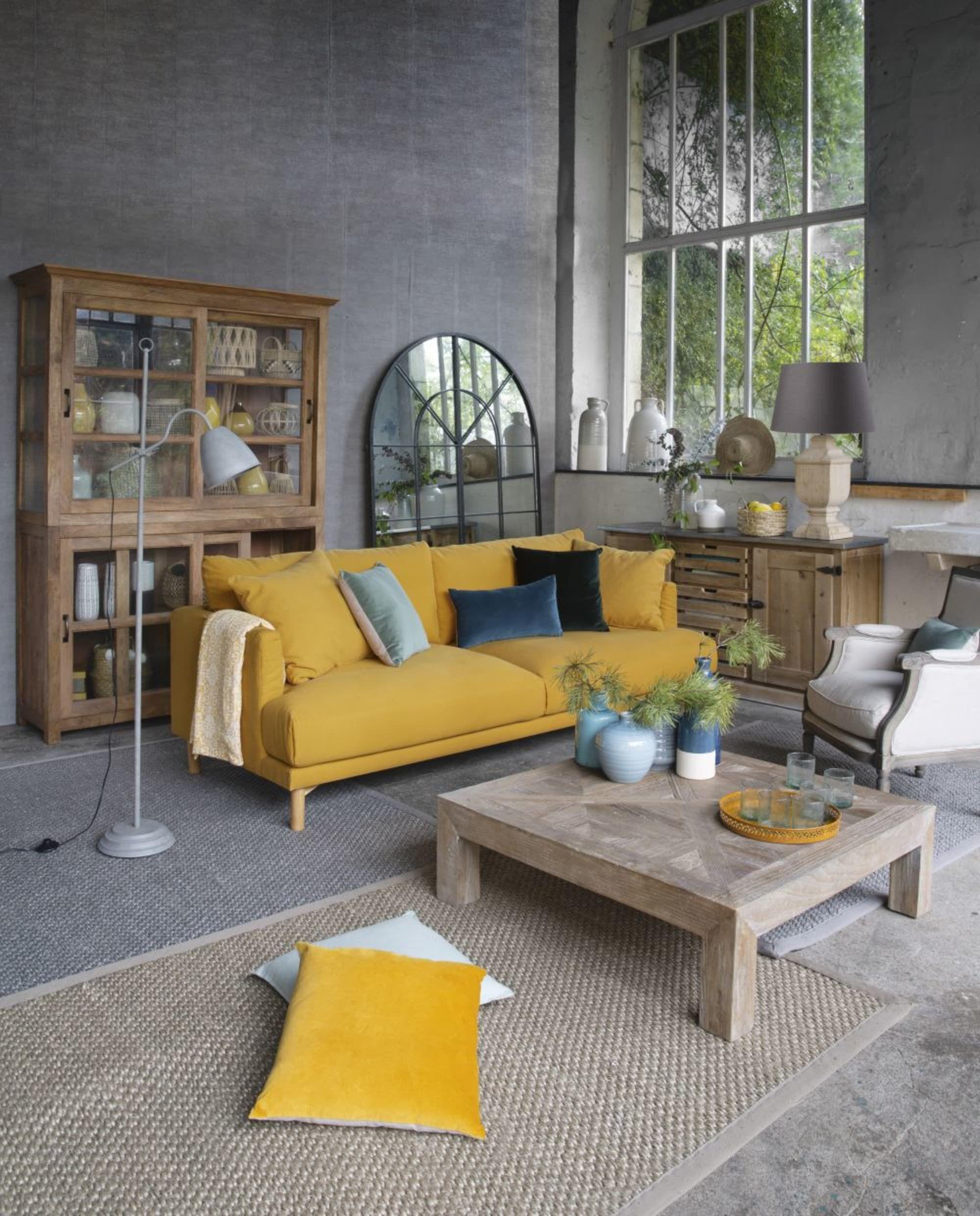 Canape 3 Places En Coton Et Lin Jaune Moutarde Raoul Maisons Du Monde Deco Salon Cocooning Mobilier De Salon Deco Maison