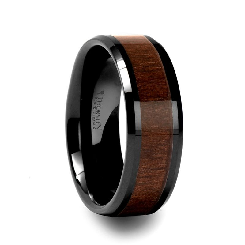 Central Black Ceramic Wedding Band With Black Walnut Wood Inlay Black Ceramic Ring Ceramic Wedding Bands Ceramic Rings