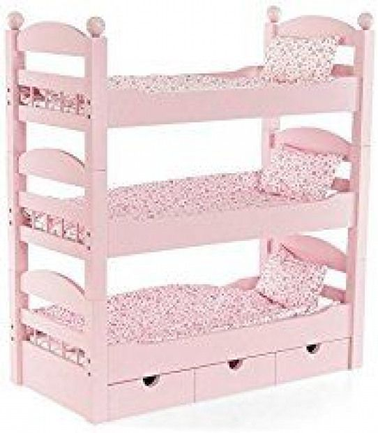 Girls Kids White Rose 1-2-3 Convertible Doll Bunk Bed w// Storage Baskets Toy NEW