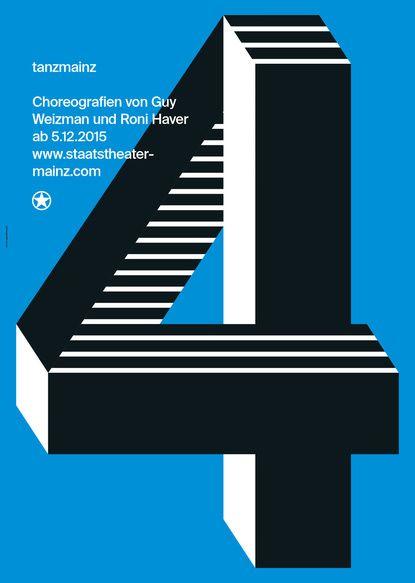 jugar con profundidad. A lo Escher. 2D3D graphic design, poster, typography, blue