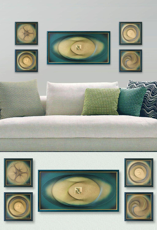 Wall Art Zen, 3D Abstract String Art Set in Green Gold, Framed ...