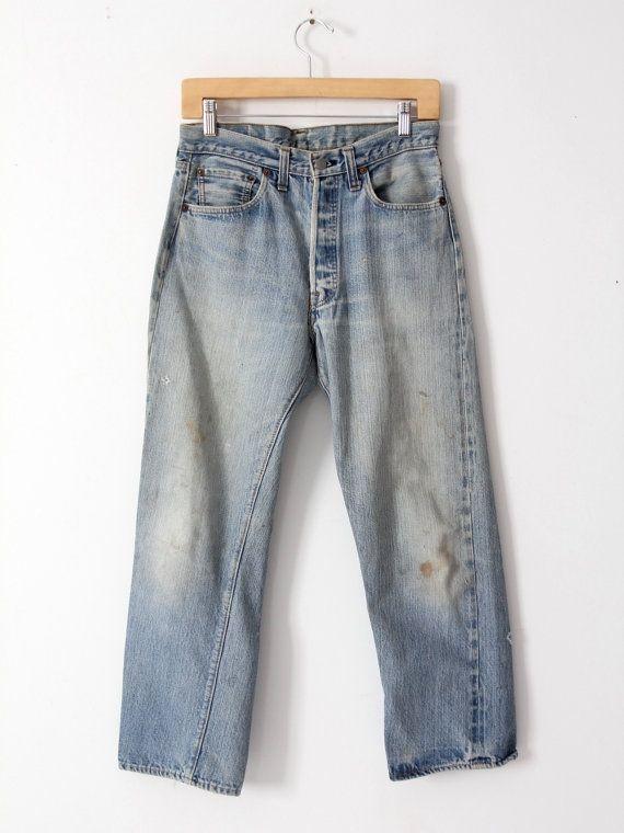 626494a78de Levis 501 selvedge jeans, vintage Levi's red line single stitch denim jeans  30 x 27
