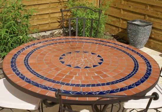 Table jardin mozaïque en fer forgé Table jardin mosaique ronde 110cm ...
