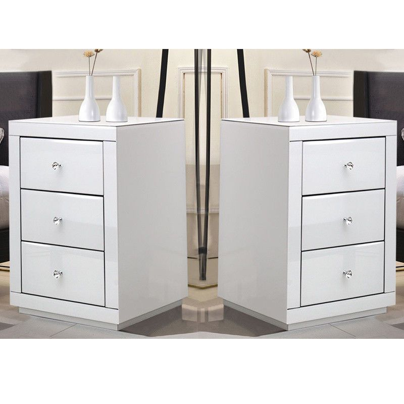 2x Chest Of 3 Drawers High Gloss White Bedside Table
