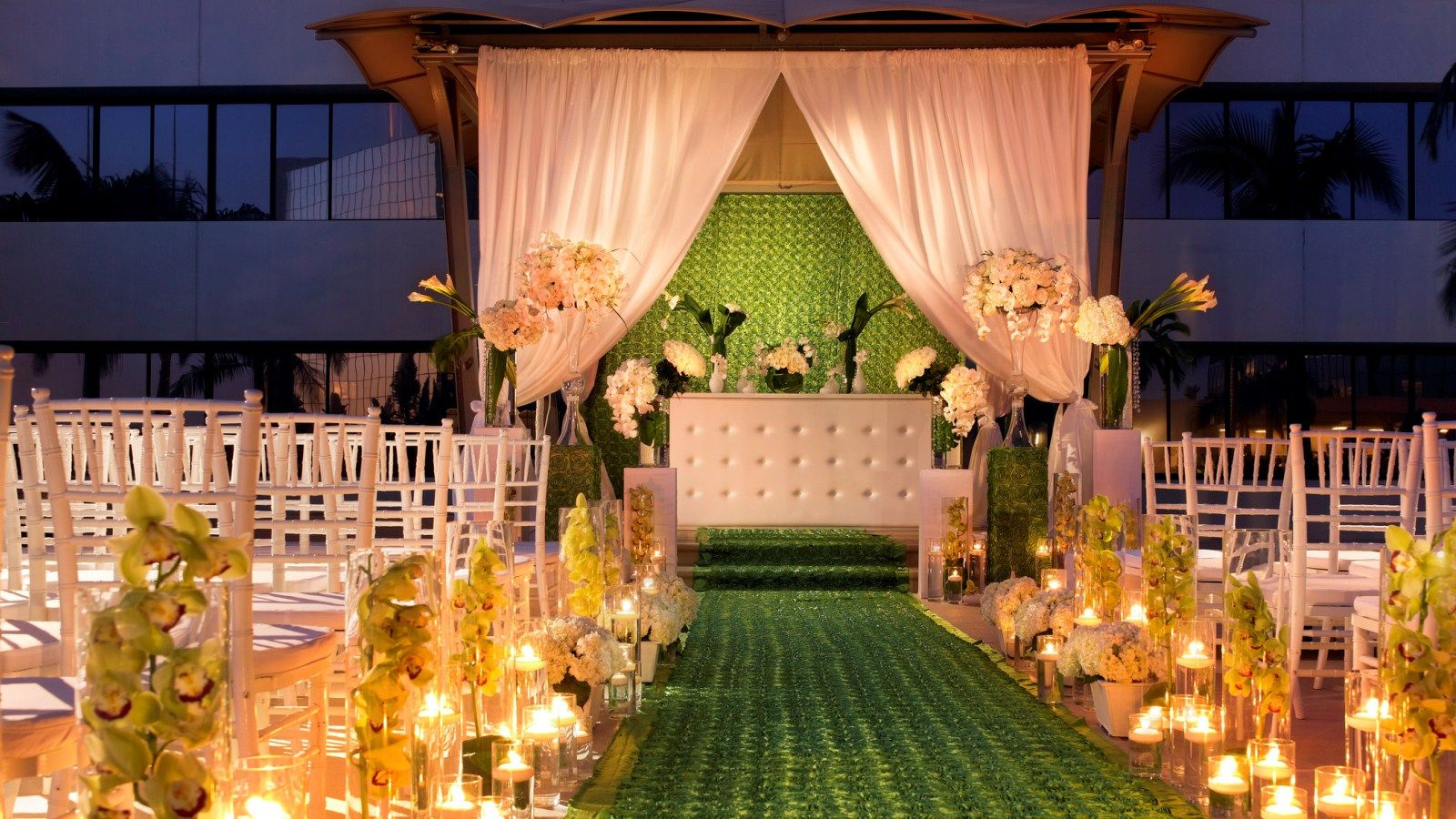 The Westin South Coast Plaza, Costa Mesa | Wedding Venue, Terrace Gazebo, outdoor ceremony, wedding ceremony, Orange County Wedding, evening ceremony, yellow and green, draping, chiavari chairs, wedding decor, #thewestinscp #twscp #westinweddings #southcoastplaza #thewestin