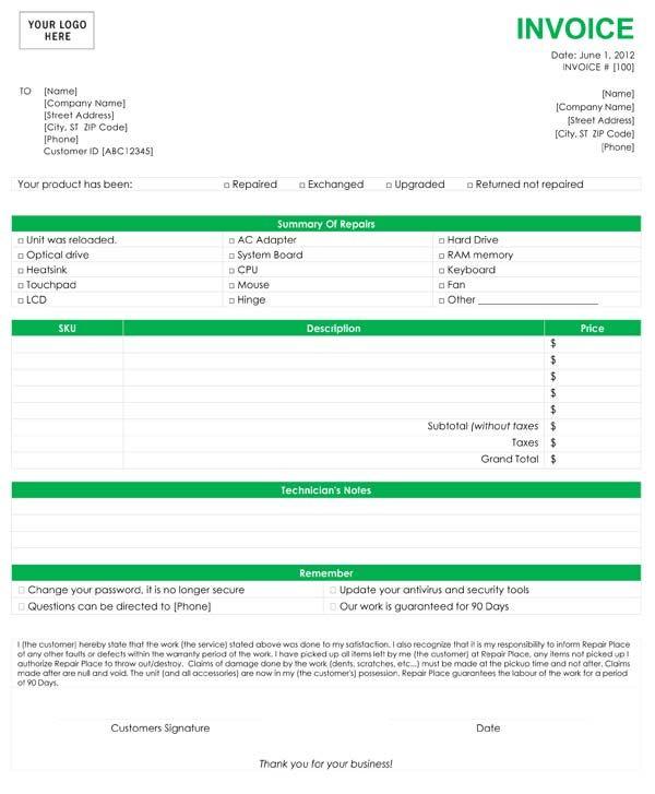 Computer Repair Invoice Template Invoice Pinterest Computer - Mechanic invoice template word
