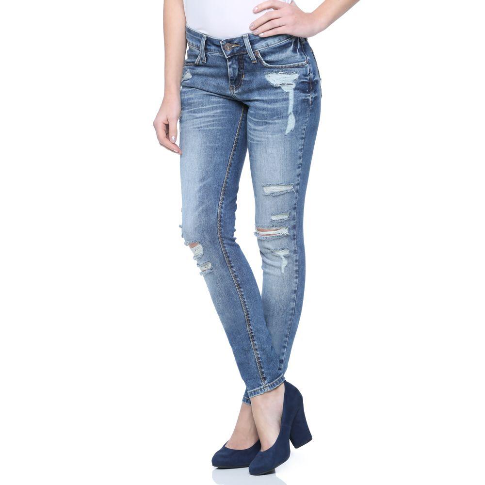 e80de0eeb Calça Cigarrete Jeans Destroyed - Damyller | Look inspiração | Jeans ...