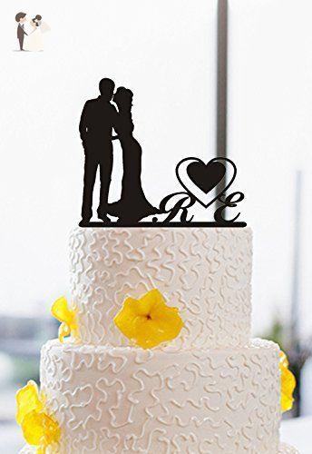 Personalized Wedding Cake Topper Initial Letter with Heart Bride and Groom Kissing Silhouette Keepsake Cake Topper Acrylic - Cake and cupcake toppers (*Amazon Partner-Link)