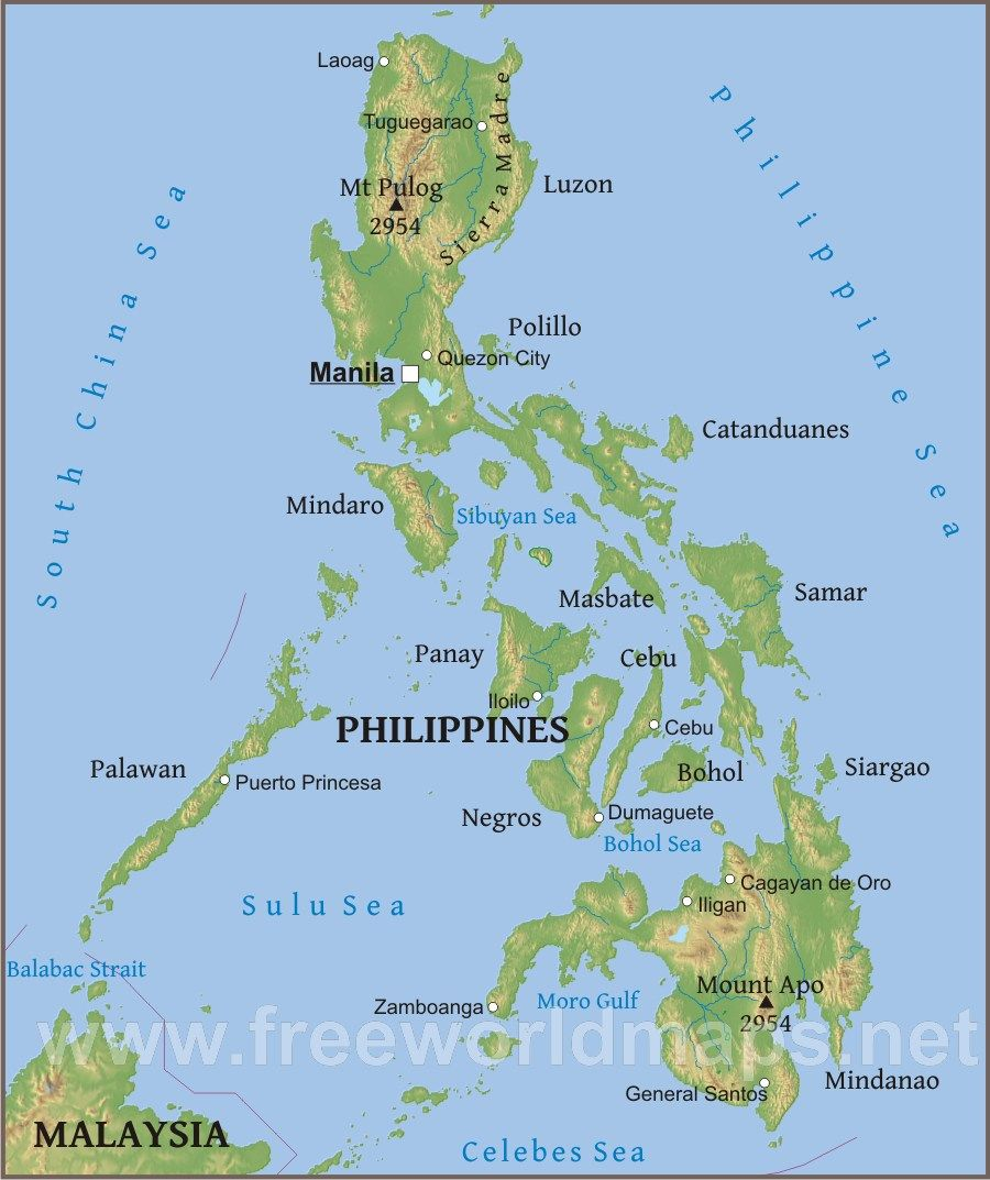 Physical map of Philippines Travel Philippines Pinterest