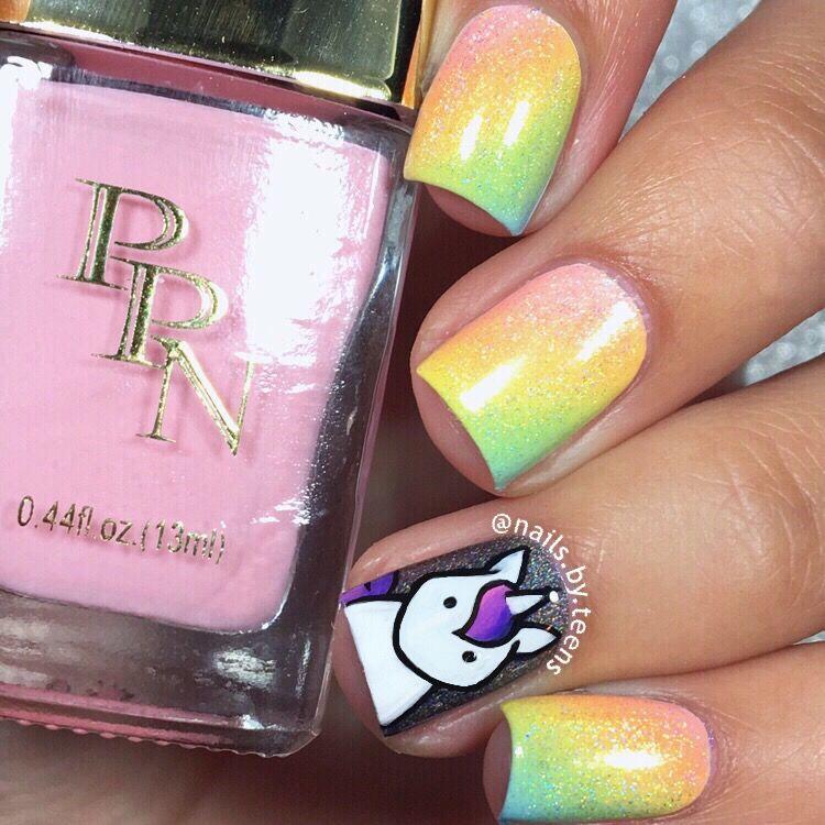 Unicorn nails | Rainbow nails | Pazokcie | Pinterest | Diseños de ...