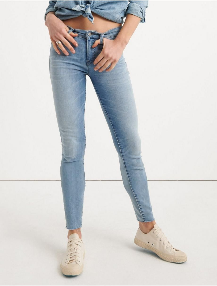 Lucky Brand Womens Mid Rise Ava Skinny Jean in White Jeans