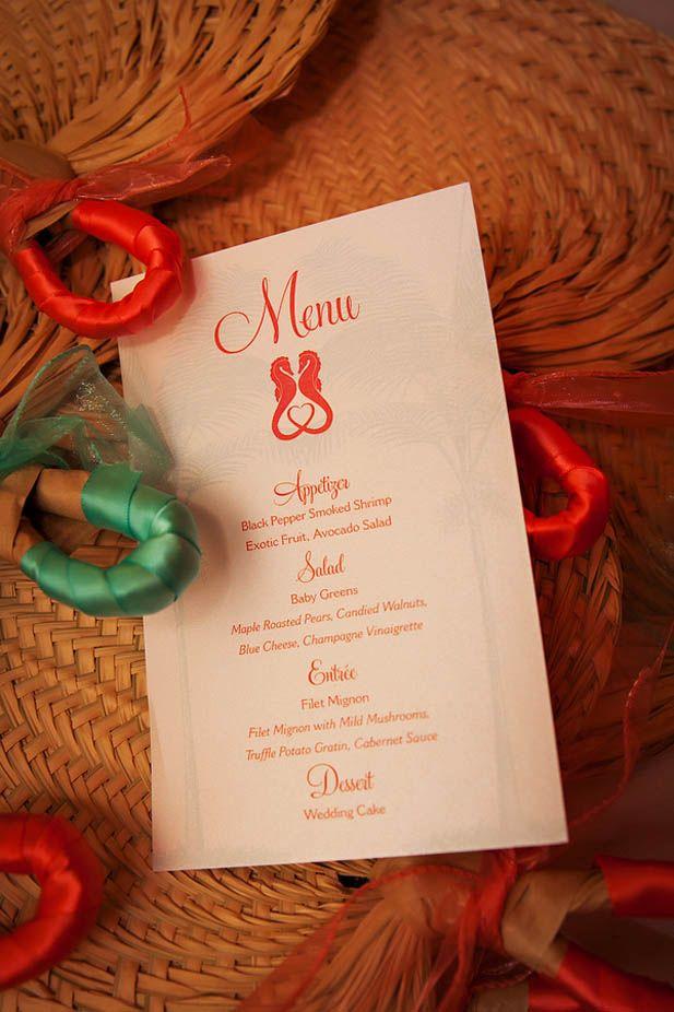 Adorable sea horse wedding menu