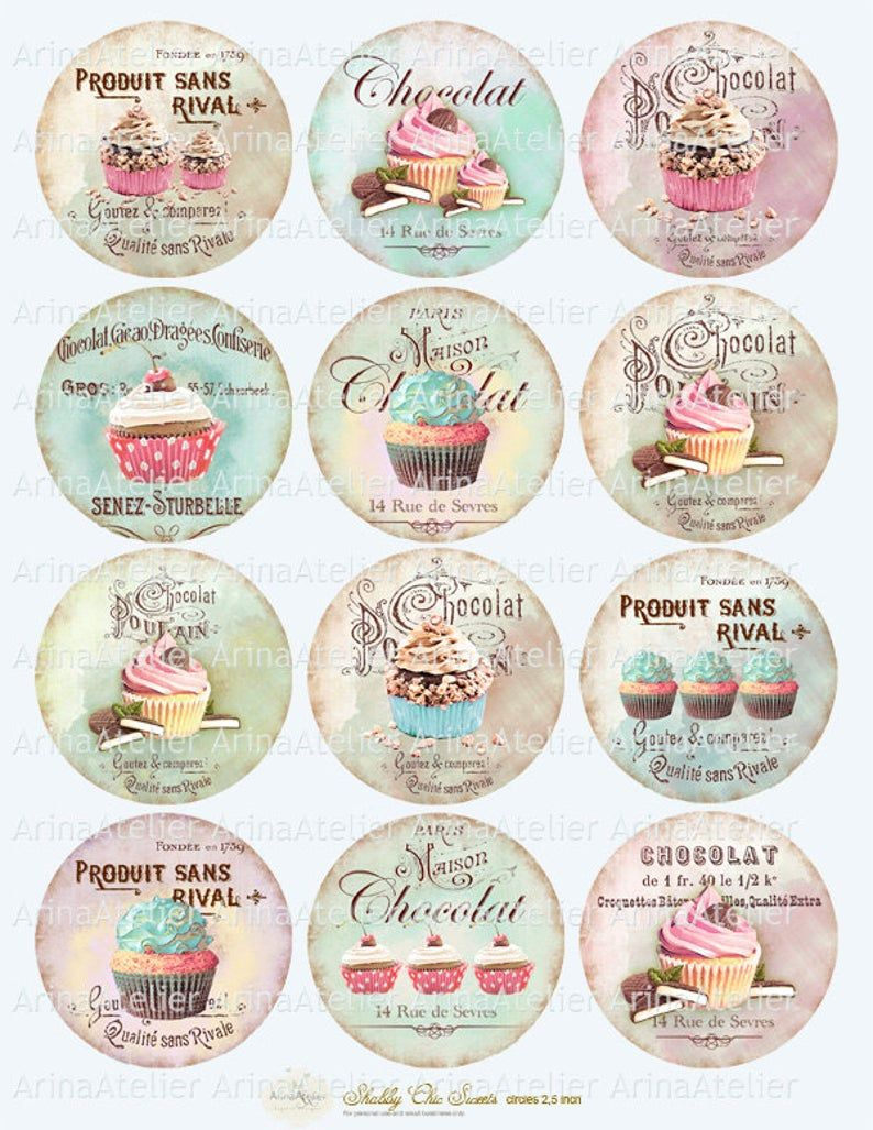 Shabby chic Sweets Circles Micro slides - 2.5 inches - digital collage sheet - pocket mirrors, tags, scrapbooking, cupcake toppers