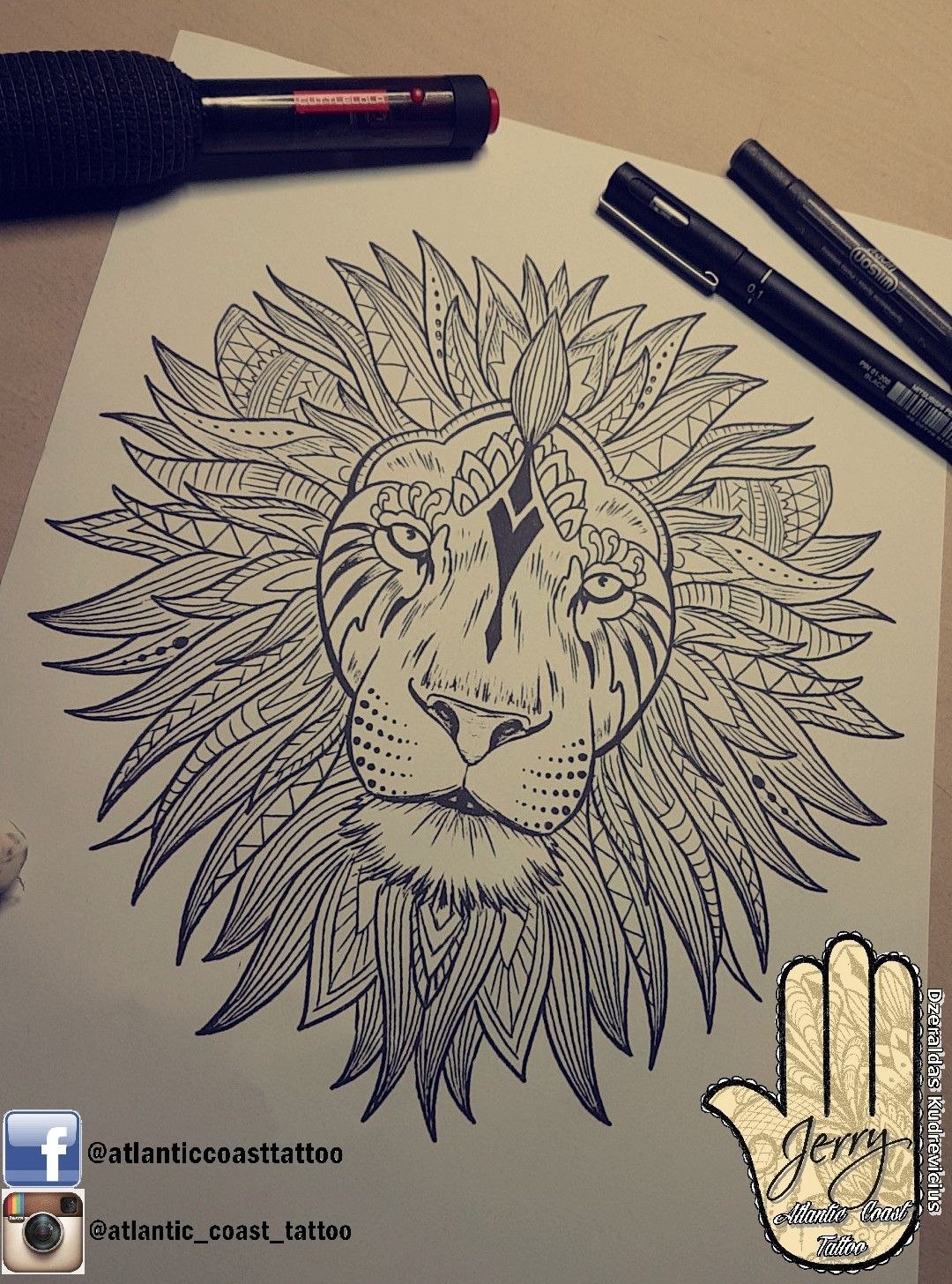Beautiful Lion Tattoo Idea Design By Dzeraldas Jerry Kudrevicius From Atlantic Coast Tattoo Mandala Ornamental S Mandala Lion Tattoo Lion Mandala Lion Tattoo