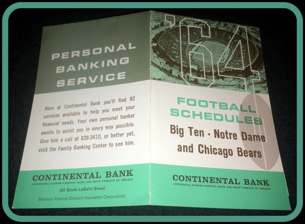 1964 CHICAGO BEARS NOTRE DAME BIG TEN CONTINENTAL BANK