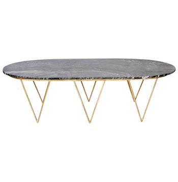 Elaine Hollywood Regency Gold Black Marble Coffee Table. #kathykuohome