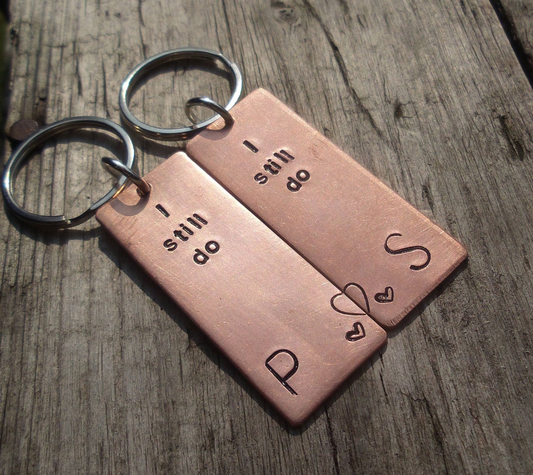 7th Wedding Anniversary Gift Ideas For Her: Pair Of I STILL DO Solid Copper 7th Wedding Anniversary