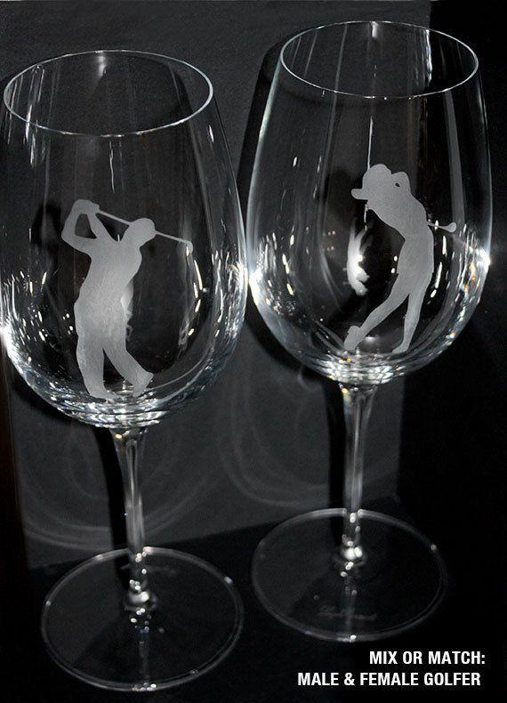 Wine Glass Golfer Female or Male Dishwasher safe  by ArtParlor, $20.00