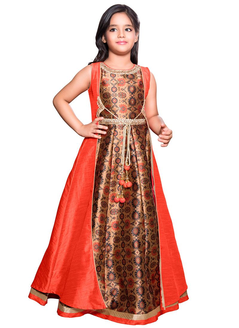 4f311d3e7d491 Buy Dark Beige N Orange Art Silk Anarkali Gown, Embroidered, girls ...