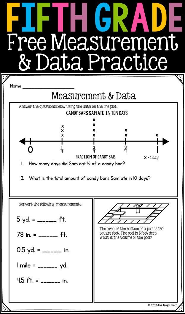 Free Fifth Grade Measurement & Data Printable- can be used as daily ...