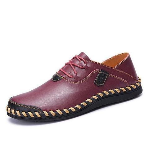 casual genuine leather lace up hand stitching flats with