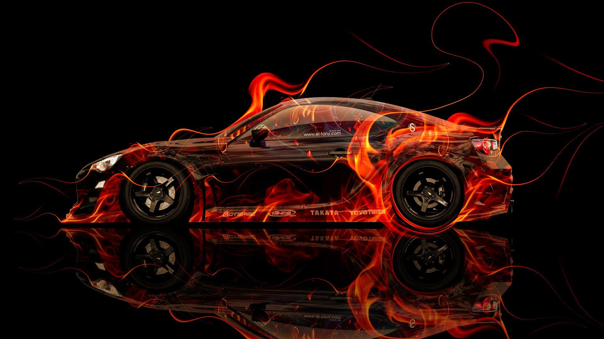 Toyota GT86 Tuning Side Fire Abstract Car 2014 « El Tony