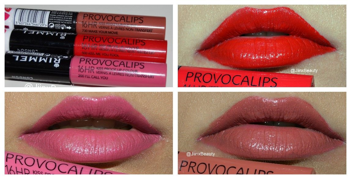 Rimmel London Provocalips Swatches Review 200 I Ll Call You 500 Kiss Me You Fool 730 Make Your Move Bright Lips Lip Swatches Makeup To Buy
