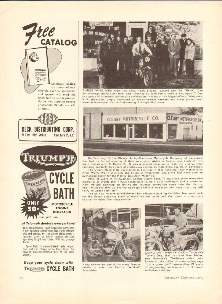 1958 cleary harley davidson motorcycle company of savannah georgia 1958 cleary harley davidson motorcycle company of savannah georgia photo article malvernweather Choice Image