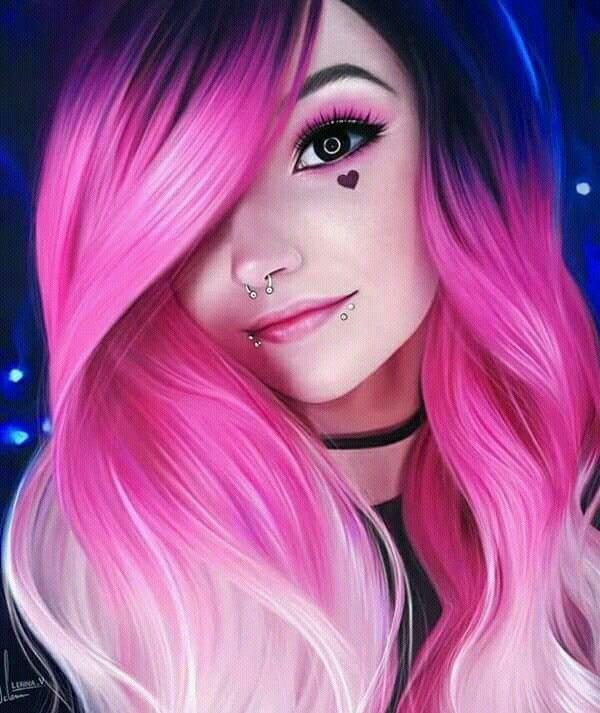 Bunte Haare, Haare färben, Haarstyling, Haarfrisur – Make-Up Techniken