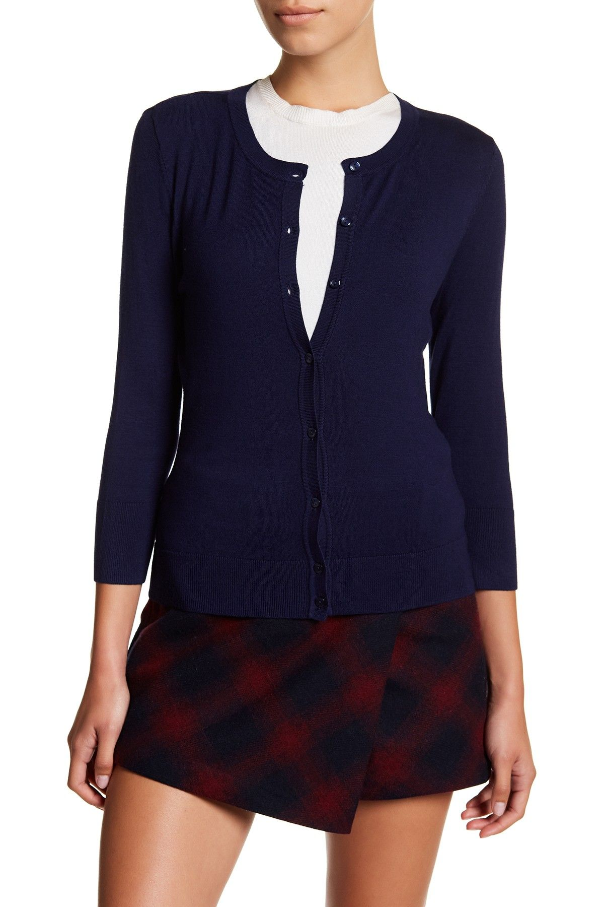1e620d73a95 3 4 Sleeve Crew Neck Cardigan (Regular   Petite) by SUSINA on   nordstrom rack