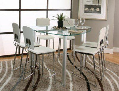 Cramco Sirius Triangular Glass Top Counter Height Dining Table The