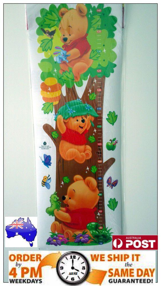 winnie the pooh growth chart transparent height sticker kids room