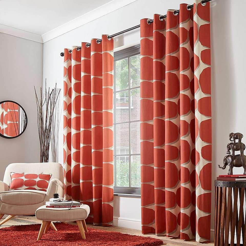 Elements Klippa Rust Eyelet Curtains Dunelm Curtains Orange