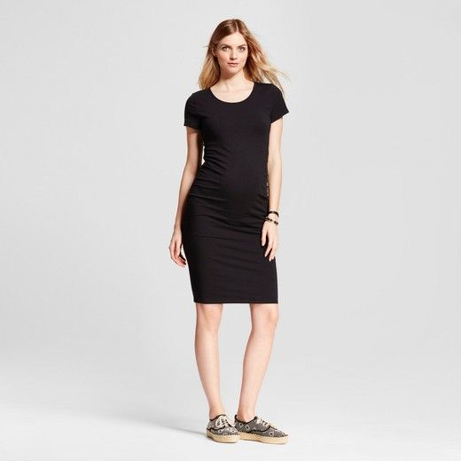 Flattering side shirring makes this maternity t-shirt dress your go-to throughout and after pregnancy. The soft cotton blend offers the right amount of stretch over your bump while still being comfortable and breathable. <br><br>Easy to dress up or down with heels or sneakers. The perfect dress for layering under jackets or wearing on its own.