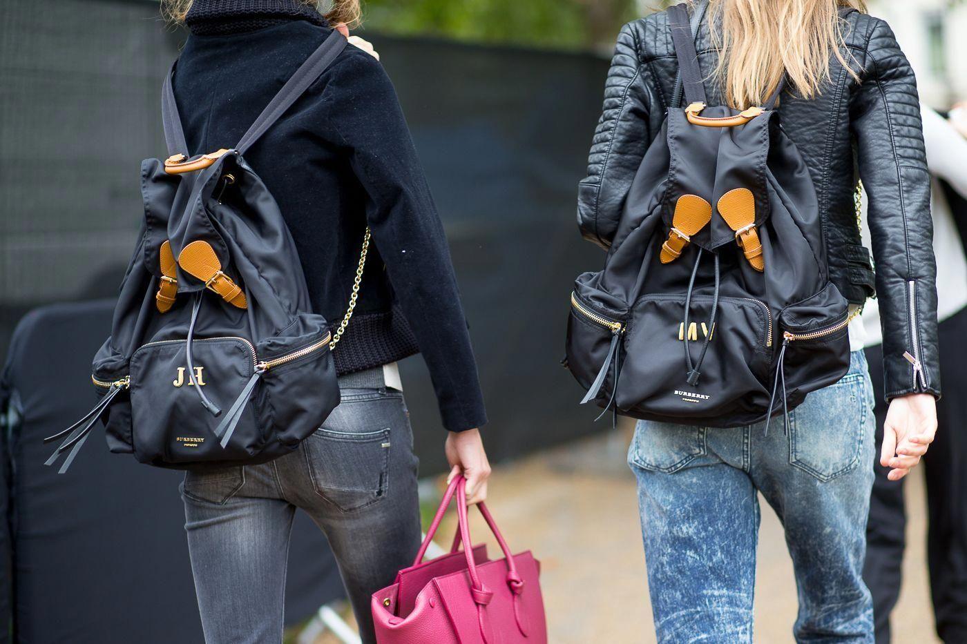 Burberry Backpack Street Style - HarpersBAZAAR.com  Burberryhandbags ... 8782b95197683