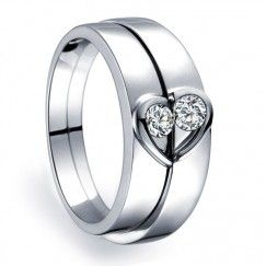 Inexpensive Heart Shape Couples Matching Wedding Band Rings on Silver