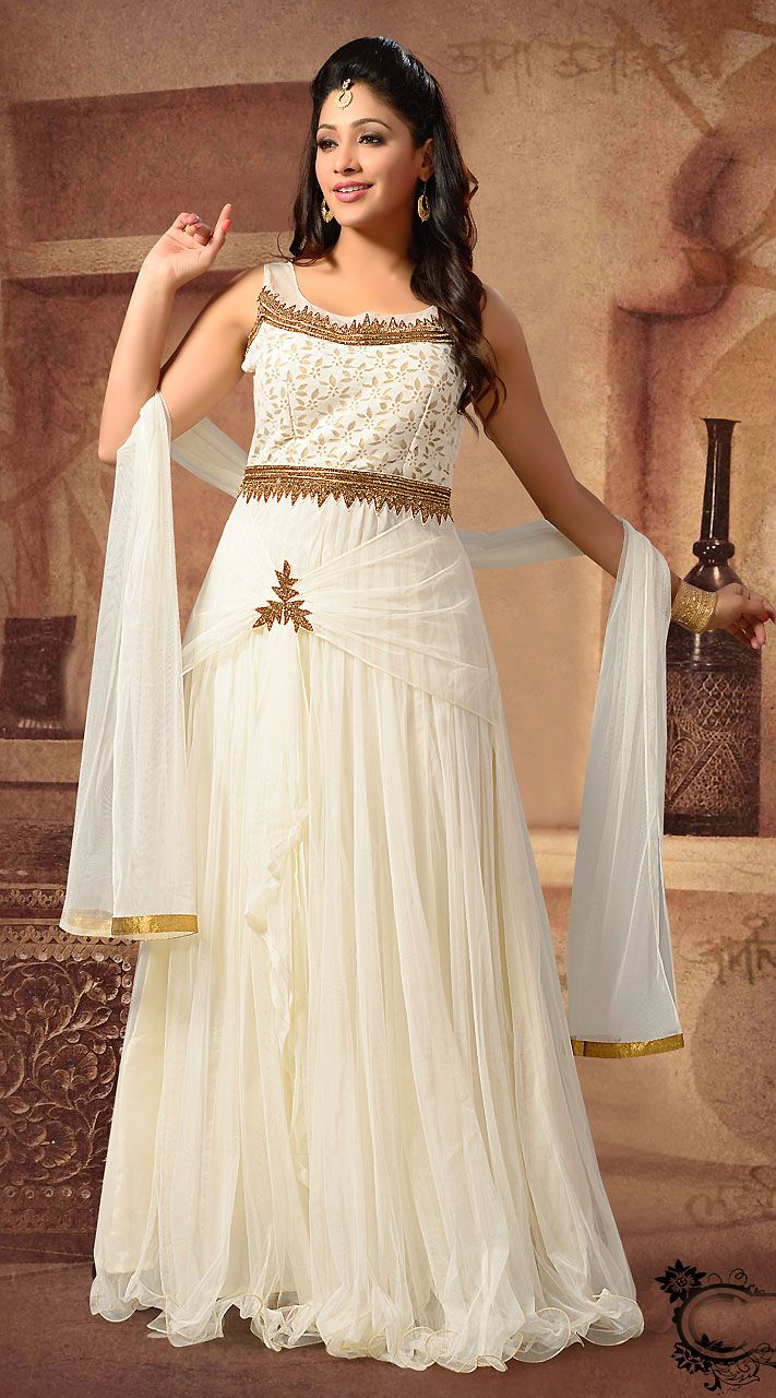 1faad20d4c Stylish White Net Ready Made Indowestern Floor Touch Gown ...