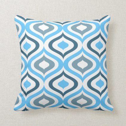 Hip Sky Blue Light Teal Gray White Ogee Waves Art Throw Pillow