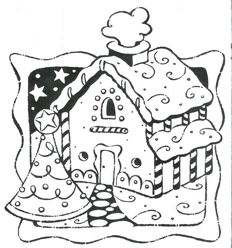 Gingerbread House Coloring Page (With images) | House ...