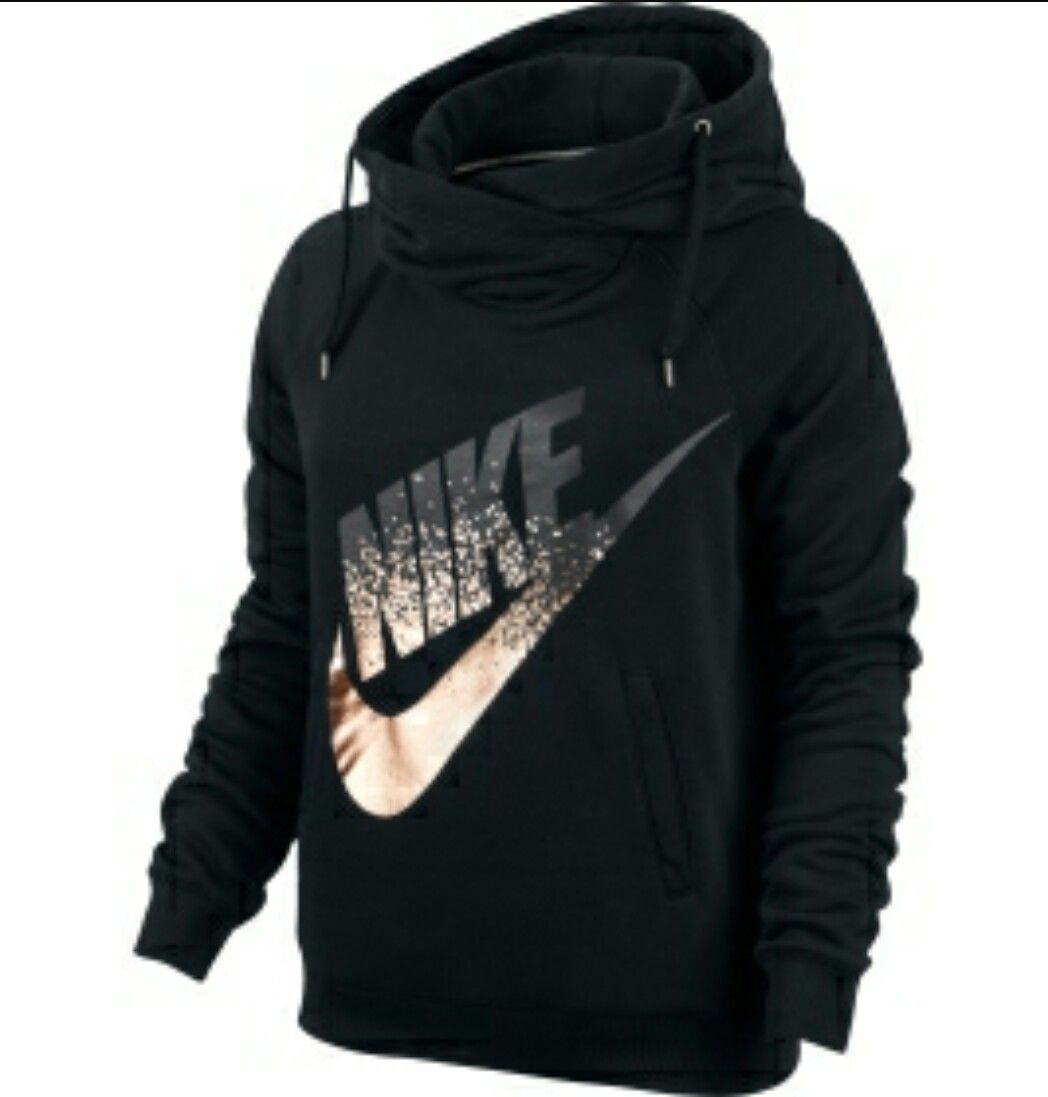 Nike Rally Metallic Funnel Neck Pullover Women's Hoodie - Size L