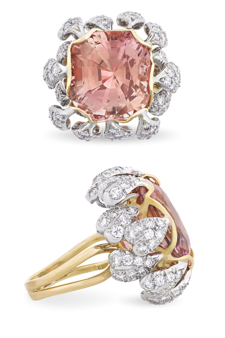 Jean schlumberger padparadscha sapphire ring carats
