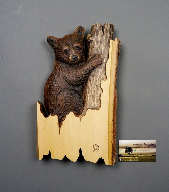 Carved Gift Baby Bear WoodCarving Natural Wood with Bark Unique Wall ...