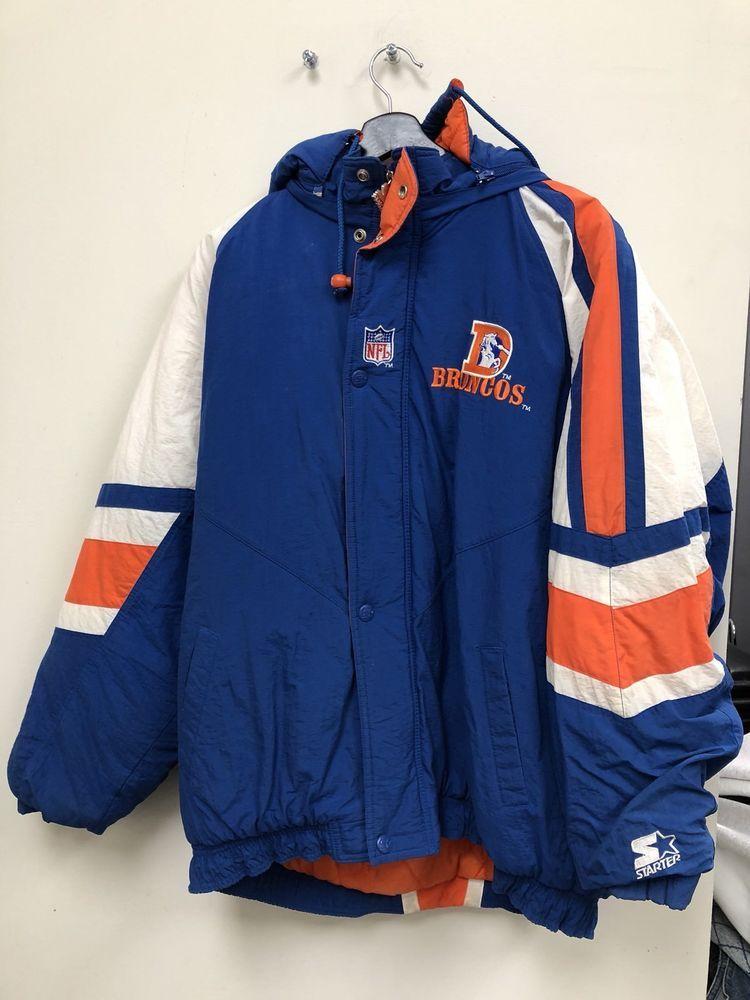 6ade73203 Vintage NFL Denver Broncos Starter Puffer Jacket Warm Mens Size XL ...
