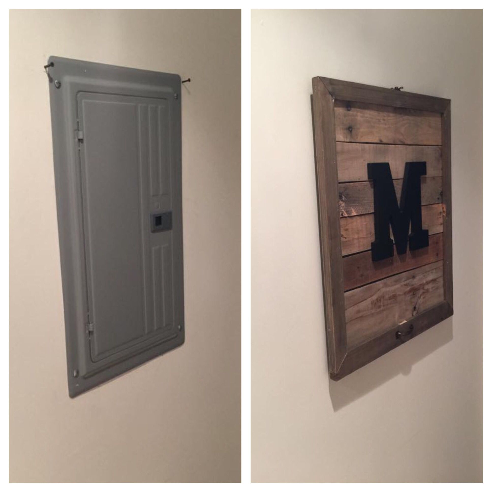 Pallet Monogram Electrical Box Cover Home Diy Home Remodeling Home Projects