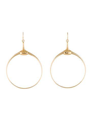 b2e5a8b20f8 Gucci 18K Horsebit Hoop Drop Earrings