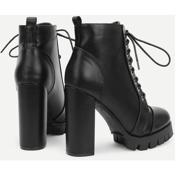 b26090e3cb SheIn(sheinside) Block Heeled Lace Up Ankle Boots (80 BAM) ❤ liked ...
