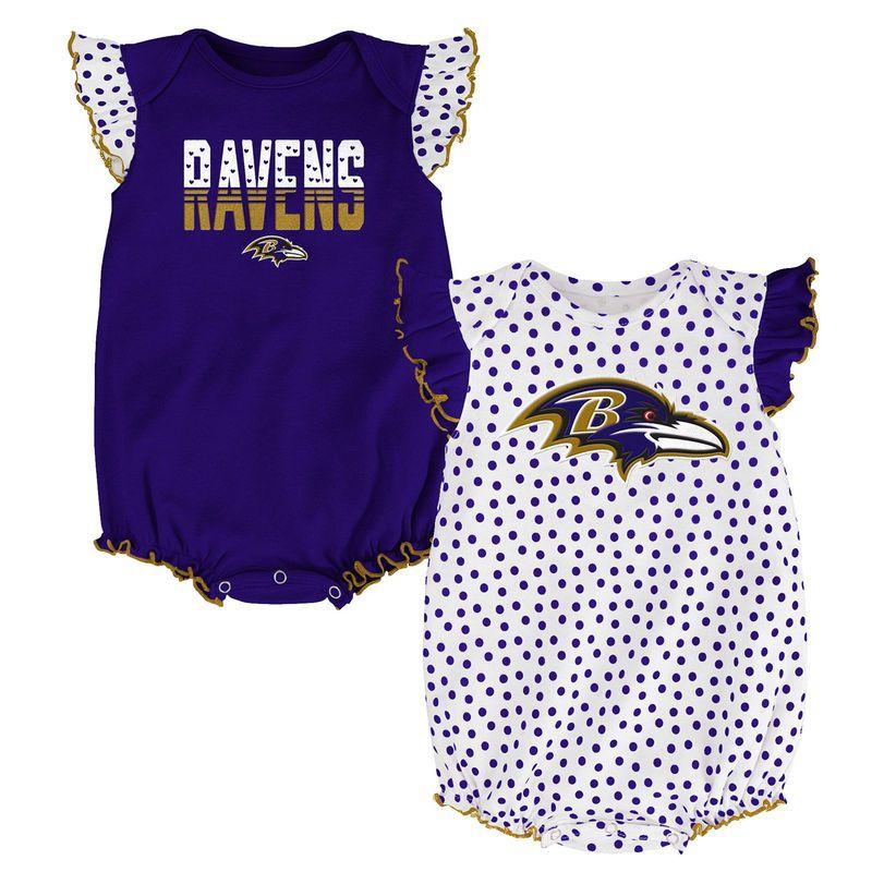 9974873ae14 Baltimore Ravens Girls Newborn   Infant Polka Fan 2-Pack Bodysuit Set -  Purple