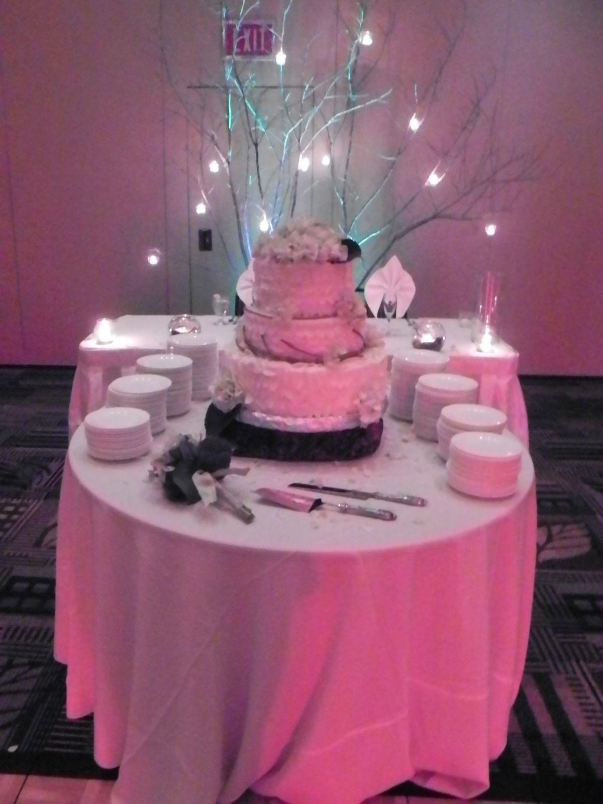Elegant Uplighting on Wedding Cake & Table www.PDJE.net | Wedding ...